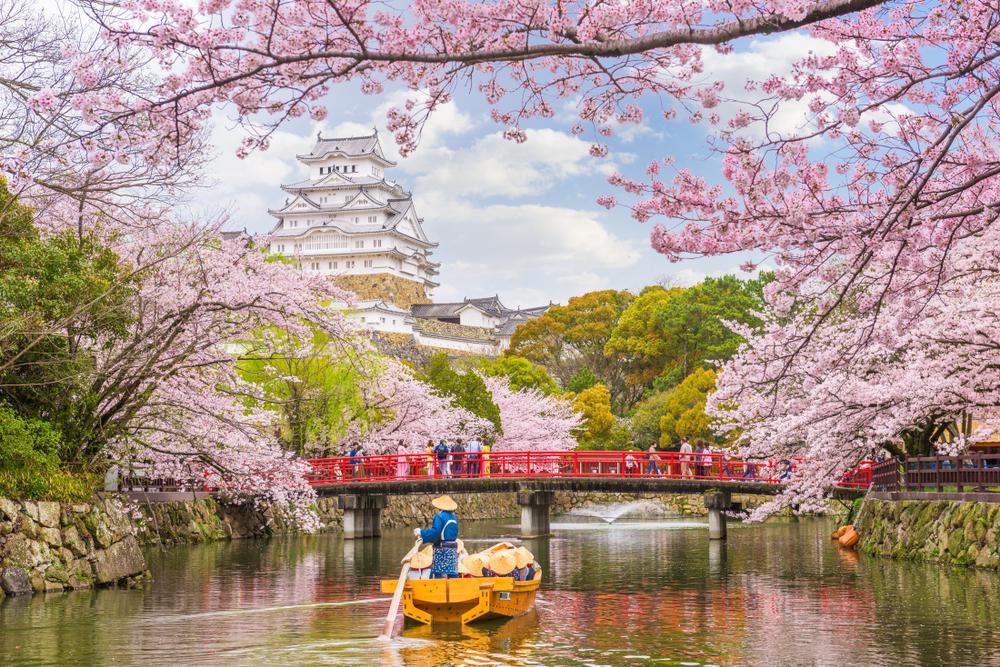 Himeji, castello dell'airone bianco visto la parco