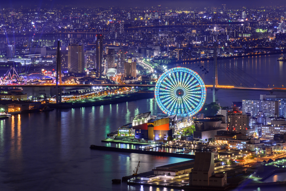 L'Osaka Bay di sera